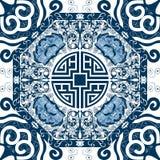 Άνευ ραφής σχέδιο με την κινεζική διακόσμηση peony Στοκ Φωτογραφίες