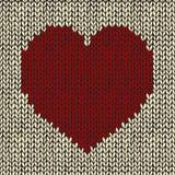 Άνευ ραφής σχέδιο με την κόκκινη πλεκτή καρδιά Στοκ φωτογραφίες με δικαίωμα ελεύθερης χρήσης