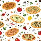 Άνευ ραφής σχέδιο με την πίτσα διανυσματική απεικόνιση