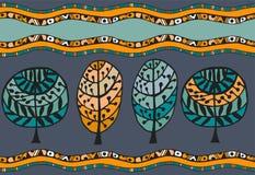 Άνευ ραφής σχέδιο με τη βοτανική σύσταση στο ύφος doodle Στοκ Φωτογραφία