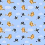 Άνευ ραφής σχέδιο με τη γάτα, το ποντίκι και τον κόρακα Στοκ Φωτογραφία