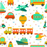 Άνευ ραφής σχέδιο με τη ζωηρόχρωμη μεταφορά Χαριτωμένο backgrou παιδιών Στοκ Εικόνα