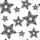Άνευ ραφής σχέδιο με τη μαύρη διανυσματική απεικόνιση αστεριών Στοκ Εικόνες