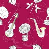 Άνευ ραφής σχέδιο με τη μουσική Στοκ Εικόνες