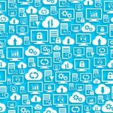 Άνευ ραφής σχέδιο με τη φιλοξενία των εικονιδίων σύννεφων Στοκ εικόνα με δικαίωμα ελεύθερης χρήσης