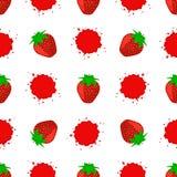 Άνευ ραφής σχέδιο με τη Juicy ώριμη φράουλα απεικόνιση αποθεμάτων