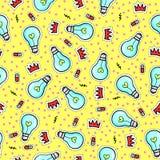Άνευ ραφής σχέδιο με τις λάμπες φωτός, τις καρδιές και άλλα στοιχεία ελεύθερη απεικόνιση δικαιώματος