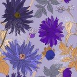 Άνευ ραφής σχέδιο με τις ανθοδέσμες των όμορφων λουλουδιών Στοκ Φωτογραφία