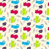 Άνευ ραφής σχέδιο με τις γάτες και τα κόκκαλα ψαριών απεικόνιση αποθεμάτων