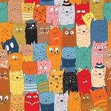 Άνευ ραφής σχέδιο με τις γάτες doodle Στοκ φωτογραφίες με δικαίωμα ελεύθερης χρήσης