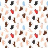Άνευ ραφής σχέδιο με τις εντάξει χειρονομίες χεριών Στοκ Φωτογραφίες