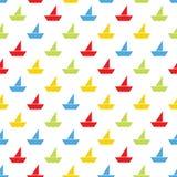 Άνευ ραφής σχέδιο με τις ζωηρόχρωμες βάρκες Στοκ Εικόνα
