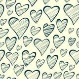 Άνευ ραφής σχέδιο με τις διακοσμητικές καρδιές περιλήψεων Στοκ φωτογραφίες με δικαίωμα ελεύθερης χρήσης