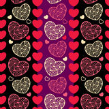 Άνευ ραφής σχέδιο με τις διακοσμητικές καρδιές Στοκ Εικόνες