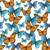 Άνευ ραφής σχέδιο με τις διακοσμητικές πεταλούδες Στοκ εικόνα με δικαίωμα ελεύθερης χρήσης