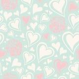 Άνευ ραφής σχέδιο με τις καρδιές και τα τριαντάφυλλα διανυσματική απεικόνιση