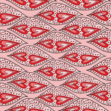 Άνευ ραφής σχέδιο με τις καρδιές και την αφηρημένη διακόσμηση Στοκ Εικόνες