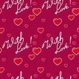 Άνευ ραφής σχέδιο με τις καρδιές και το σημάδι ` Με αγάπη! ` Τέχνη συνδετήρων ράστερ Στοκ Εικόνες