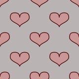 Άνευ ραφής σχέδιο με τις καρδιές σε ένα μαύρο υπόβαθρο Στοκ Εικόνες