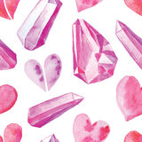 Άνευ ραφής σχέδιο με τις καρδιές watercolor ελεύθερη απεικόνιση δικαιώματος