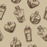Άνευ ραφής σχέδιο με τις μαγικές φιάλες γυαλιού Απεικόνιση αποθεμάτων