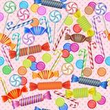 Άνευ ραφής σχέδιο με τις μικτές ζωηρόχρωμες καραμέλες Στοκ εικόνα με δικαίωμα ελεύθερης χρήσης