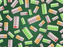 Άνευ ραφής σχέδιο με τις μπαταρίες που φορτίζονται στο διαφορετικό επίπεδο Στοκ Φωτογραφίες