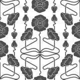 Άνευ ραφής σχέδιο με τις παπαρούνες που εμπνέεται από τα στοιχεία ύφους nouveau τέχνης Στοκ Εικόνες