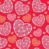 Άνευ ραφής σχέδιο με τις περίκομψες καρδιές Στοκ Εικόνες
