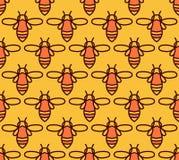Άνευ ραφής σχέδιο με τις πορτοκαλιές μέλισσες στο ύφος Monoline Στοκ Φωτογραφίες