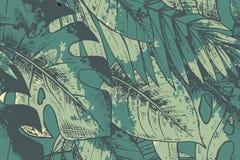 Άνευ ραφής σχέδιο με τις πράσινες συρμένες χέρι τροπικές εγκαταστάσεις διανυσματική απεικόνιση