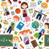 Άνευ ραφής σχέδιο με τις προμήθειες μαθητών και σχολείων Στοκ Εικόνες