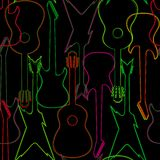 Άνευ ραφής σχέδιο με τις σκιαγραφίες κιθάρων Στοκ Εικόνα