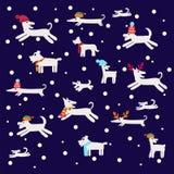 Άνευ ραφής σχέδιο με τις σκιαγραφίες σκυλιών Στοκ Φωτογραφίες