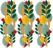 Άνευ ραφής σχέδιο με τις σκιαγραφίες του λουλουδιού και της χλόης Στοκ Εικόνα