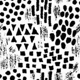 Άνευ ραφής σχέδιο με τις συρμένες χέρι γεωμετρικές μορφές μελανιού Στοκ Εικόνες