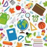 Άνευ ραφής σχέδιο με τις σχολικές προμήθειες Στοκ Εικόνες