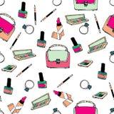 Άνευ ραφής σχέδιο με τις τσάντες και τα καλλυντικά Στοκ Εικόνες