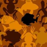 Άνευ ραφής σχέδιο με τις τυποποιημένες τεμνόμενες σκιαγραφίες των υδρόβιων ζώων Στοκ Φωτογραφία