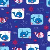 Άνευ ραφής σχέδιο με τις φάλαινες Στοκ φωτογραφίες με δικαίωμα ελεύθερης χρήσης