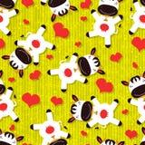 Άνευ ραφής σχέδιο με τις χαριτωμένες αγελάδες Στοκ Εικόνες