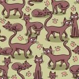 Άνευ ραφής σχέδιο με τις γάτες Στοκ Εικόνες