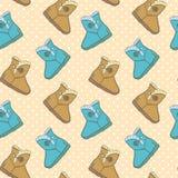 Άνευ ραφής σχέδιο με τις χαριτωμένες μπότες κινούμενων σχεδίων Στοκ Φωτογραφίες