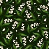 Άνευ ραφής σχέδιο με τον κρίνο της κοιλάδας και snowdrop των λουλουδιών επίσης corel σύρετε το διάνυσμα απεικόνισης Στοκ Εικόνα