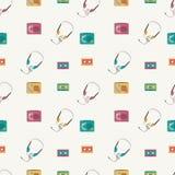Άνευ ραφής σχέδιο με τους αναδρομικούς ακουστικούς φορείς, ταινίες, ακουστικά διανυσματική απεικόνιση