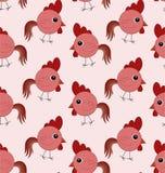 Άνευ ραφής σχέδιο με τους κόκκινους κόκκορες Ελεύθερη απεικόνιση δικαιώματος