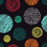 Άνευ ραφής σχέδιο με τους κύκλους κακογραφιών Στοκ Εικόνες
