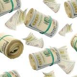 Άνευ ραφής σχέδιο με τους πετώντας ρόλους αφθονίας εκατό του δολαρίου Bill αφηρημένα χρήματα ανασκόπησης Στοκ Φωτογραφίες