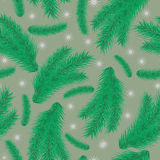 Άνευ ραφής σχέδιο με τους πράσινους κλάδους του έλατου Στοκ εικόνα με δικαίωμα ελεύθερης χρήσης