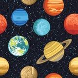 Άνευ ραφής σχέδιο με τους πλανήτες ηλιακών συστημάτων ελεύθερη απεικόνιση δικαιώματος